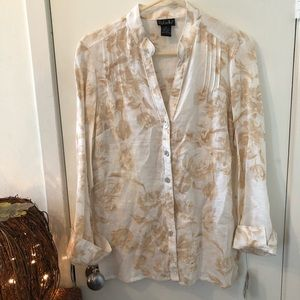 *Brand New -Soft Beige/White Floral Blouse